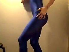 stunning body in blue catsuit