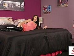 british voyeur teasing and instructing on bed