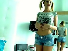 Busty teen with pigtail hair masturbates with a dildo -