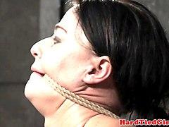 slut pussy punished while hanged upside down