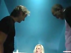 blonde slut caught wanking in club toilet gets spit roasted