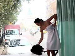 euro babe picked up for massage on roadside