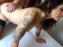 the sluttiest tattooed cuckold milf gets fucked by two guys