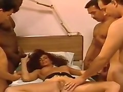 redhead long legged insatiable slut on the bed likes to be groped