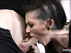 skanky tattooed emo girl deeply screwed by hard man meat