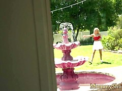 Pretty teen pussylicked and rimmed by stepmom