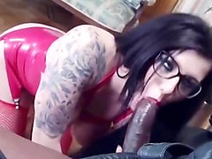 slut in red latex fucked by black guy with cum on latex