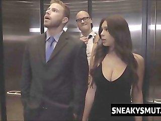 Stuck in the elevator door and fucked