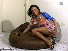big ass ebony tbabe is fingering her butt and jerking off