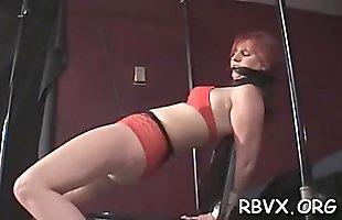 Nipple torture and vibrator play for ballgagged floozy