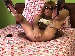 Sissy Crossdresser take on a 10 incher NICE!!!