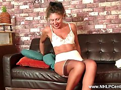 classy french milf wanks in lingerie garters heels and nylon