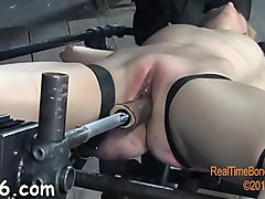 Gal is stripping inside cage