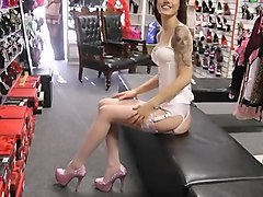 in stockings corset, high heels, dressed in white sexy girl
