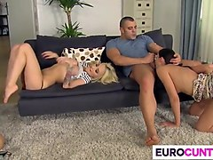 nice foursome with hot euro babes