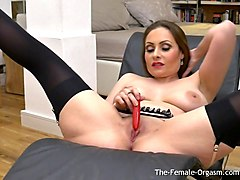 femorg milf with big naturals solo masturbation with vibe