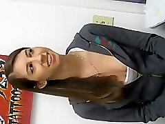 Nipple viewed when she pierces ears