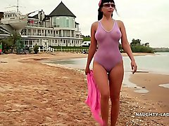 My one-piece transparent swimsuit make his...