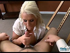blonde slut on the job