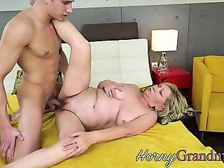 Grandmother takes cumshot