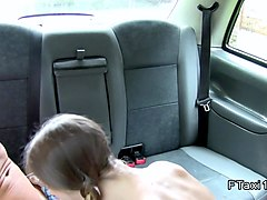 Busty blonde sucks and screws in cab