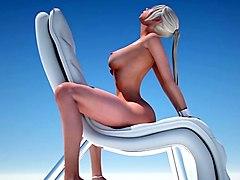 horny blonde and her big tits girlfriend enjoying futa sex