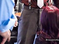 huge tits redhead boss bangs in office