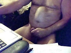 Uncut daddy bear jerking and cumming