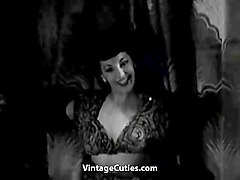 gorgeous stripper gives a hot striptease (1950s vintage)