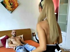 sexy german mom caught step-son and help him to cum