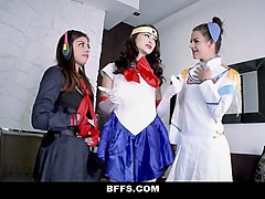 bffs-  sexy teens in cosplay fucked before competition