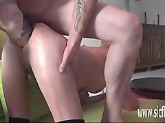 Double fist and dildo fucking both her holes
