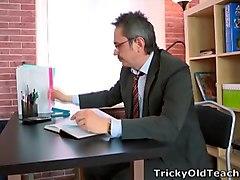 Sonia begins to show her teacher her sucking oral skills