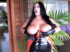 Curvy Latex Slut with Black Gloves - Rubber Blowjob Handjob - Cum on my Tits