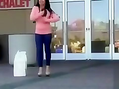 Busty babe gets off on public flashing