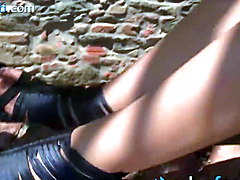 Redhead tourist in pantyhose shows panties in public