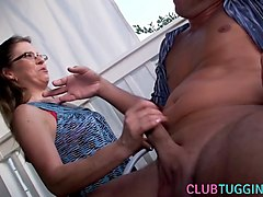 outdoors, wife, handjob, jerking off, hubby