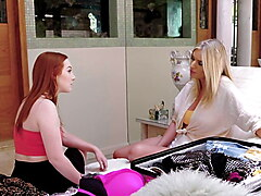 BadMILFS - Horny Milf and Teen Redhead Share A Big Cock Stud
