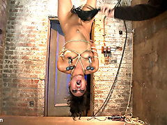 Pussy Flogging, Caning, Nipple Torture, Face Fucking, Finger Fucking & 2 Massive Squirting Orgasms - HogTied