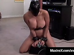 Maxine X - Rides Sybian Wearing Latex Hood For Mouth Fucking