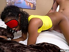 magnificent and young black girl blindfolded and fucked hard