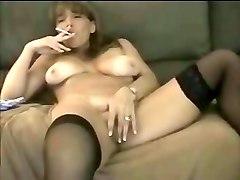 smoking, milf, in, stocking, brunette