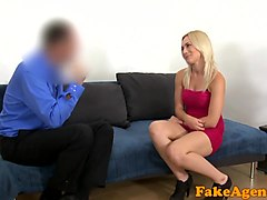 fake agent pretty blonde in a red dress gives great blowjob