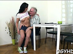 young sweetheart gets banged from behind by old nasty guy