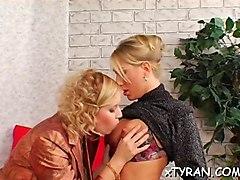 lesbian, fetish, humiliation, strap, blond