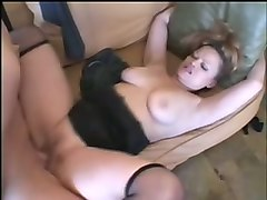 insatiable pale skin cougar banged hard on the couch