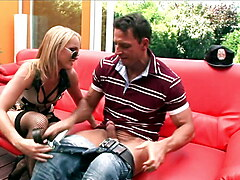 BIG TITS BLONDE ANAL POLICE takes the thick cum in mouth