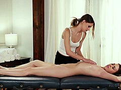 lesbian masseur jillian janson gives a massage and analingus to one sexy cleint