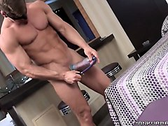 stud undresses and puts on a penis pump