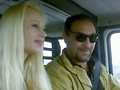stunning blonde hitchhiker gives amazing head to a driver